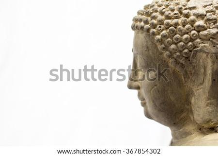 Buddha statue close up on a white background  - stock photo