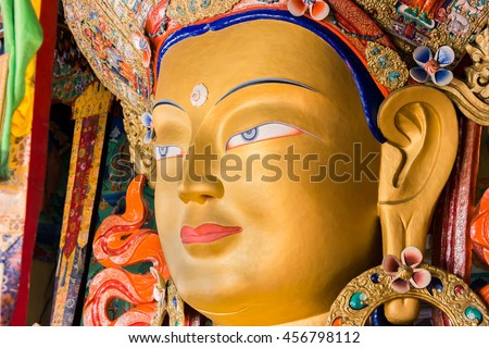 Buddha statue in a monastery in india