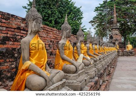 buddha statue in buddha temple at Ayuthaya Thailand - stock photo