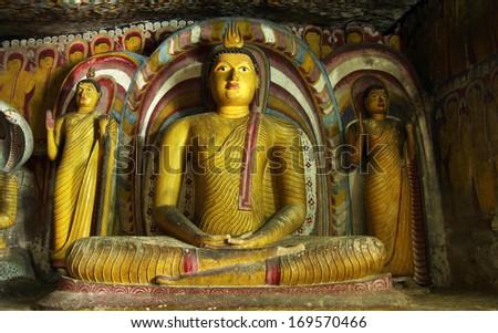 buddha statue in dambulla - stock photo