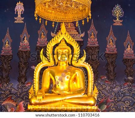 Buddha statue in the church. - stock photo