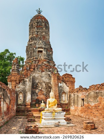 Buddha statue in Wat Cherng Tha. Ayutthaya historical park.  - stock photo