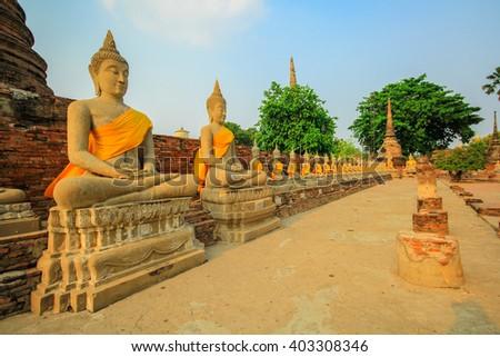 Buddha statue in Wat Yai Chai Mongkol. Ayuttaya, Thailand - stock photo
