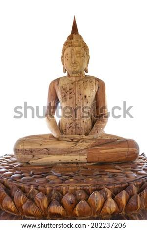 Buddha statue in wood - stock photo