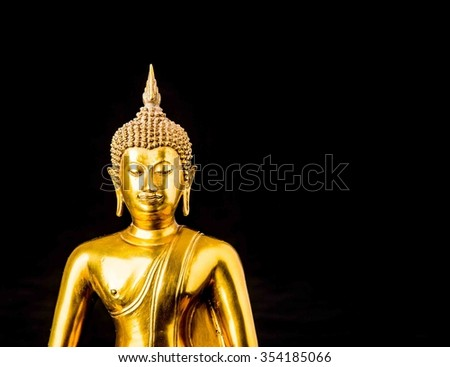 buddha statue isolated on black background,statue in Buddhist Thailand  temple or wat,  are public  domain  or treasure of Buddhism ,no restrict in copy or use . This photo  taken   these  conditions