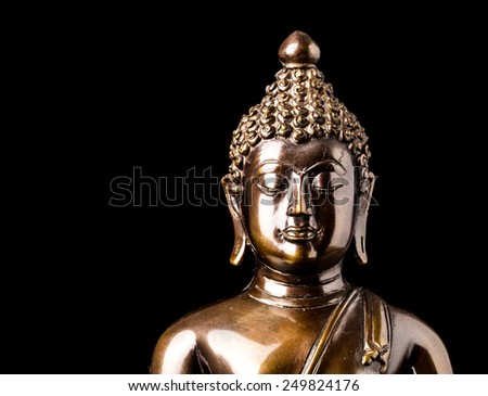buddha statue isolated,statue in Buddhist Thailand  temple or wat,  are public  domain  or treasure of Buddhism ,no restrict in copy or use . This photo  taken   these  conditions - stock photo