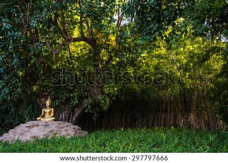 Buddha statue mediatation in Chaingmai Temple - stock photo