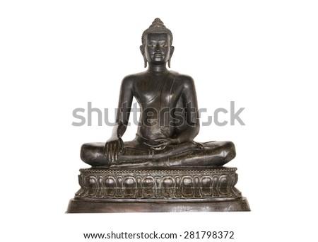 Buddha statue on white background. - stock photo