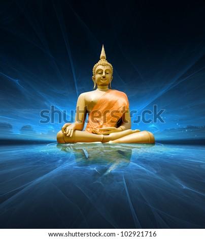 Buddha statue over scenic lighting background - stock photo