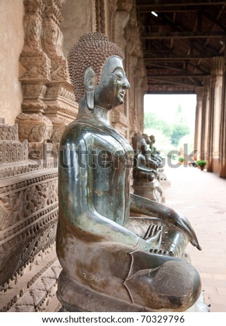 Buddha statue. Wat Ho Phra Keo (Altar of the Emerald Buddha), Vientiene, Laos - stock photo