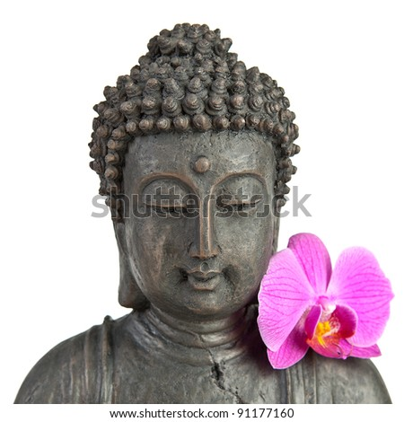 Buddha statue with orchid against white background - stock photo