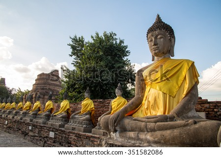 Buddha statues at the temple in Ayutthaya, Thailand - stock photo