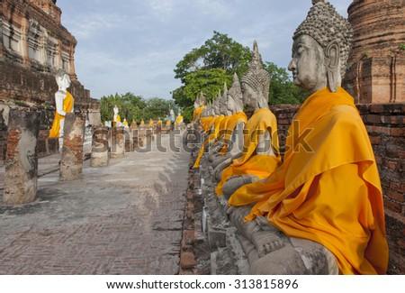 buddha statues at Wat Yai Chaimongkol Ayutthaya thailand - stock photo