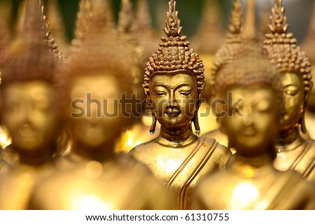 Buddha statues , Face of gold buddha,  Thailand ,Asia - stock photo