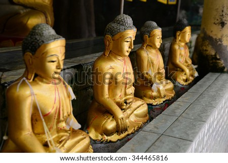 Buddha statues in a pagoda in Myanmar