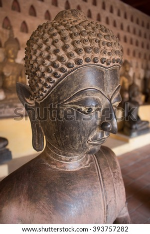Buddha statues in Wat Si Saket temple  ,Vientiane, Laos. - stock photo
