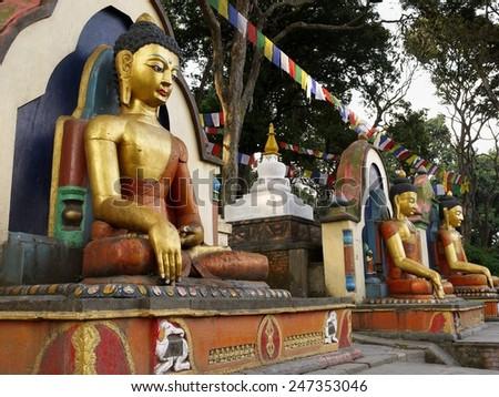 Buddha statues. Kathmandu, Nepal - stock photo