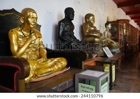 Buddha statues of wat Phra That Cho Hae in Phrae,Thailand. - stock photo