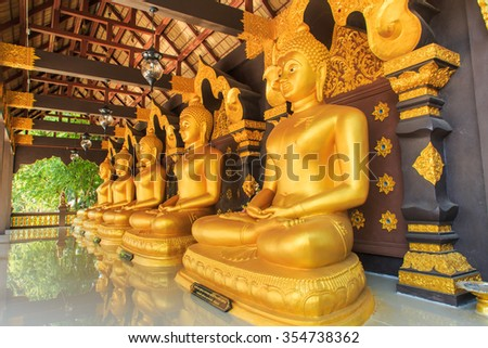"BUDDHA,Thailand Temple of ""wat doi pa jhana"" is a small temple in Lampang in Thailand Thailand. There is beauty in contemporary art is popular with many people. December 23-2015 - stock photo"