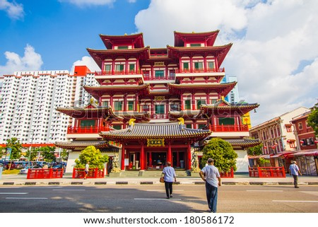 Buddha Tooth Relic Temple in China Town Singapore - stock photo