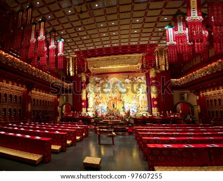 Buddha Tooth Temple interior - stock photo