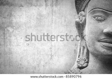 Buddha warrior stone statue - stock photo