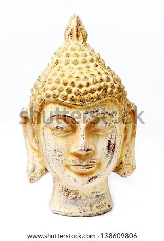 Buddha white stone head. - stock photo