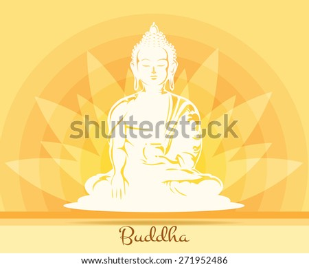 Buddha with lotus flower. Buddhism and yoga, health and symbol - stock photo