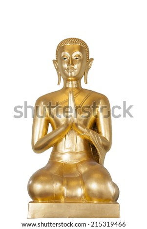 Buddhism prayer statue isolated on white background