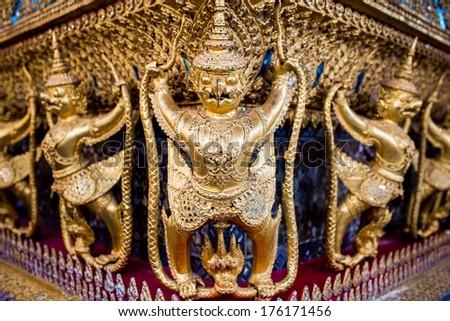 Buddhist adaptation of Garuda at Wat Phra Kaew temple in Bangkok, Thailand. - stock photo