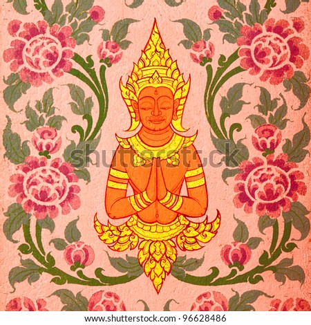 Buddhist art paint style in public of thailand - stock photo