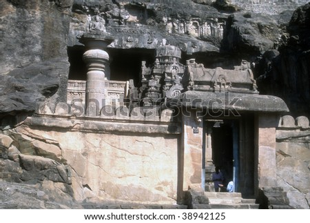 Buddhist cave temples and sculpture in Ellora   India, Asia - stock photo