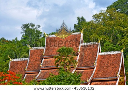 buddhist church's roof in Luang Prabang, laos - stock photo