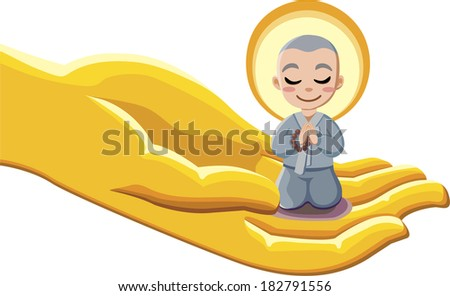 Buddhist monk kneeling on Buddha's hand - stock photo