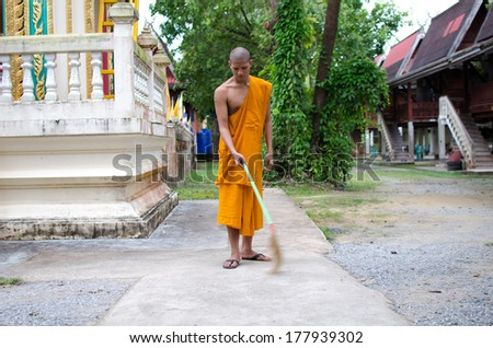 Buddhist monk, Thai monk Sweep temple. - stock photo