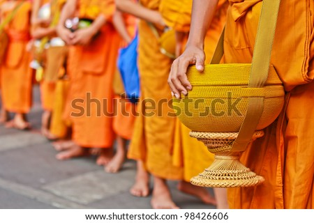 Buddhist monks. - stock photo