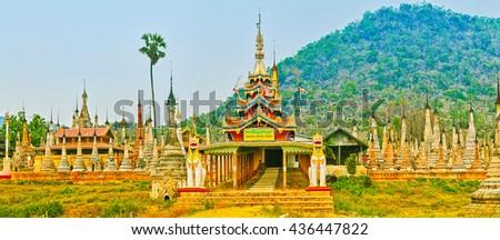 Buddhist pagoda Takhaung Mwetaw in Sankar. Myanmar. Panorama - stock photo