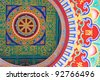 Buddhist painting at ceiling - stock photo