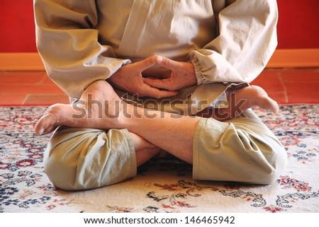 buddhist prayer monk - stock photo