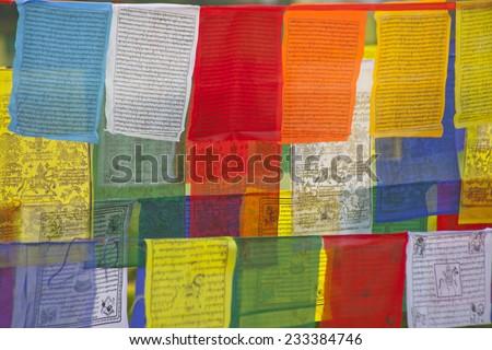 Buddhist praying flags in Lumbini, Nepal - stock photo