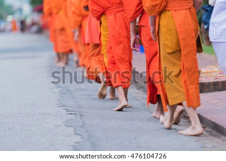 Buddhist priest to go about with a bowl to receive food