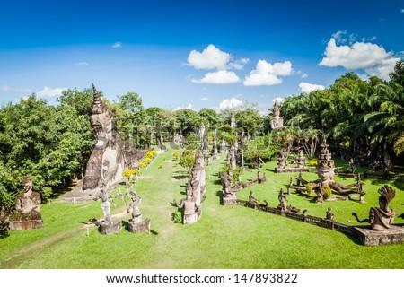Buddhist statues at Buddha Park, Wat xiengkuane, Vientiane, Laos - stock photo