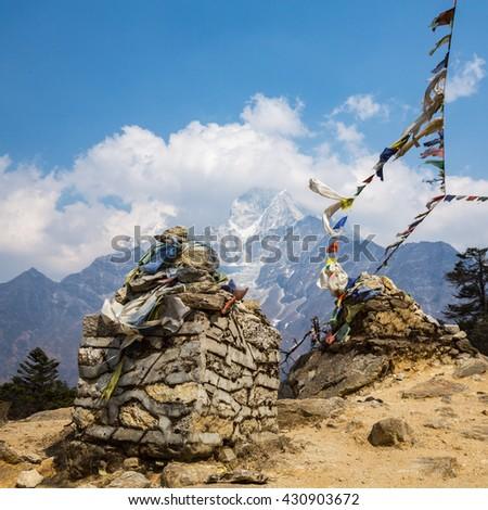 Buddhist stupa on the track to Everest Base Camp - stock photo