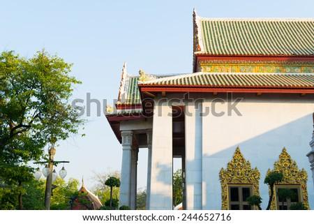 Buddhist temple at Wat Bowonniwet Vihara - stock photo