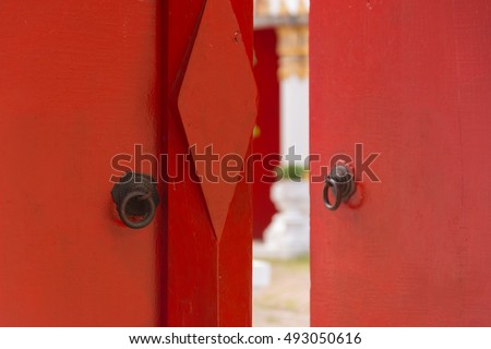 Buddhist temple gate with wooden door red color vintage style & Thai Door Stock Images Royalty-Free Images \u0026 Vectors | Shutterstock Pezcame.Com