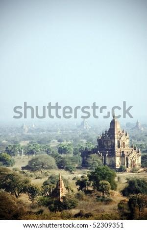 Buddhist temple in bagan, pagan, myanmar, burma - stock photo