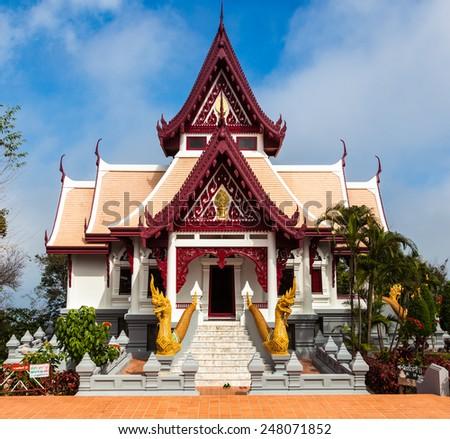 Buddhist temple (Wat) in Mae Salong, Thailand. - stock photo