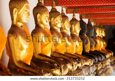 Buddhist temple, Wat Pho in Bangkok ,Asia Thailand - stock photo
