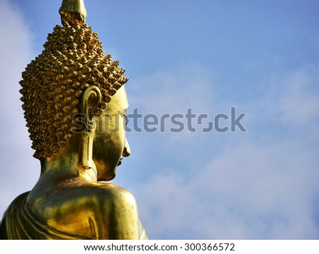 Buddhist temple Wat Phrathat Khao Noi with buddha statue over looking the city Nan Province. Thailand. - stock photo