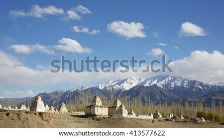Buddhistic stupas (chorten) in the Himalayas â?? Ladakh, Jammu & Kashmir, India - stock photo